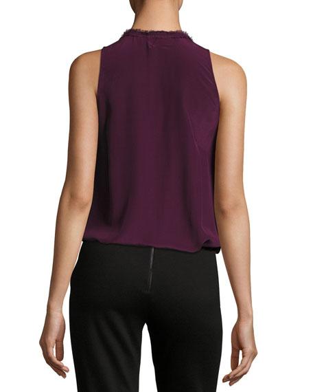 Elisa High-Neck Ruffle Silk Blouse