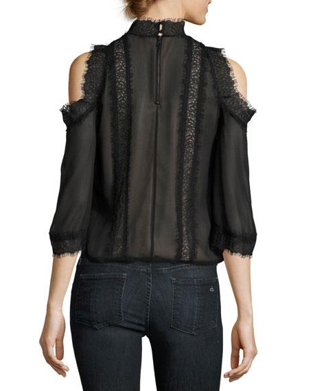 Glinda High-Neck Cold-Shoulder Lace Blouse