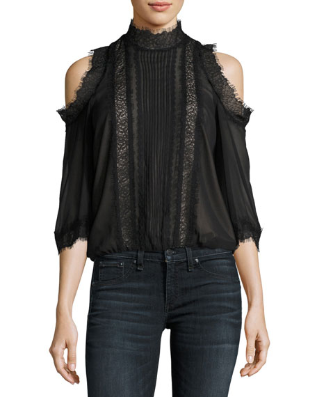 Alice + Olivia Glinda High-Neck Cold-Shoulder Lace Blouse
