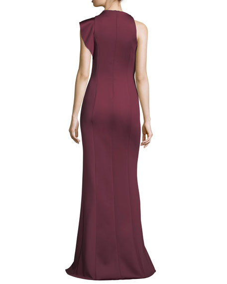 Pabla Neoprene Sleeveless Evening Gown w/ Slit