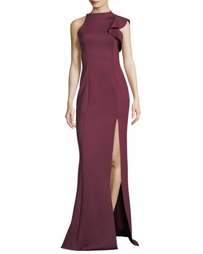 Pabla Neoprene Sleeveless Evening Gown w/ Slit