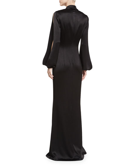 Barcelona Split-Sleeve Satin Evening Gown