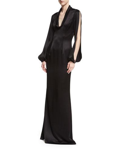 Barcelona Split-Sleeve Satin Evening Gown