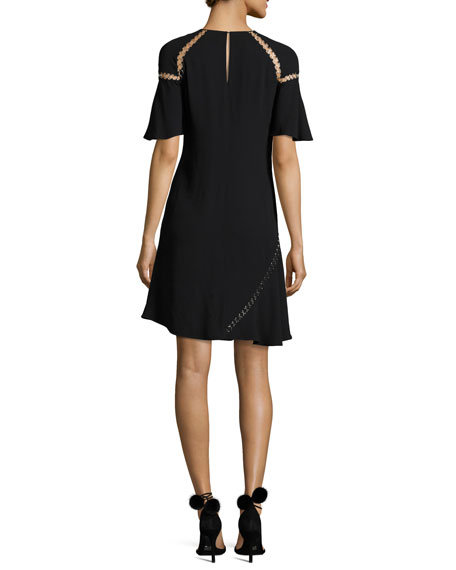 Mitchell Round-Neck Short-Sleeve Dress w/ Ring Trim