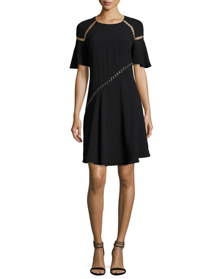 A.L.C. Mitchell Round-Neck Short-Sleeve Dress w/ Ring Trim