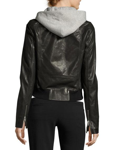 Edison Combo Lamb Leather Moto Jacket w/ Hoodie