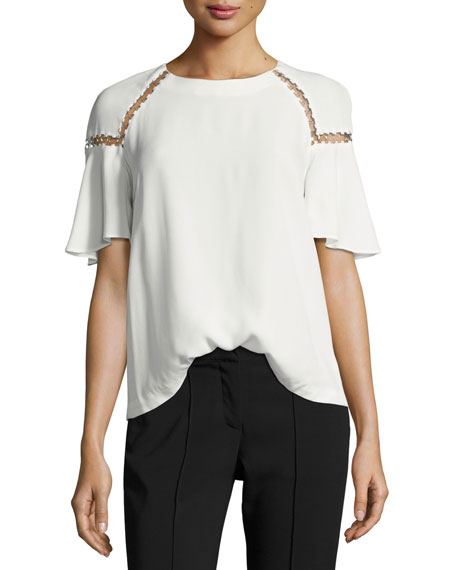 A.L.C. Sheila Short-Sleeve Top w/ Ring Trim and