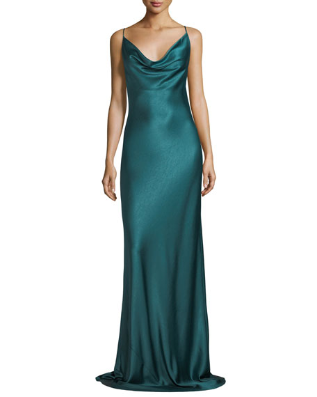 Bessette Sleeveless Bias-Cut Satin Slip Evening Gown
