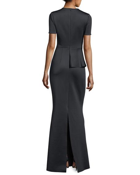 Short-Sleeve Peplum Neoprene Evening Gown