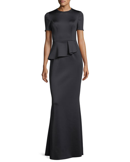 Black Halo Short-Sleeve Peplum Neoprene Evening Gown