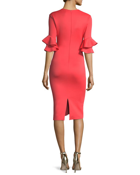 Josie Ruffled-Sleeves Sheath Cocktail Dress
