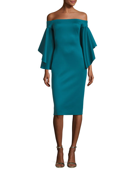 Malibu Off-the-Shoulder Ruffled-Sleeves Cocktail Dress