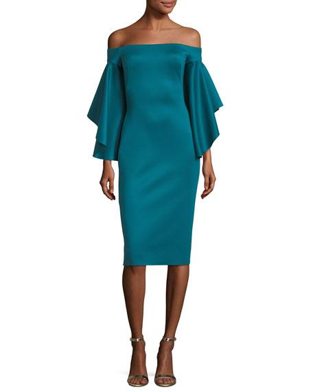Malibu Off-the-Shoulder Ruffled-Sleeves Cocktail Dress