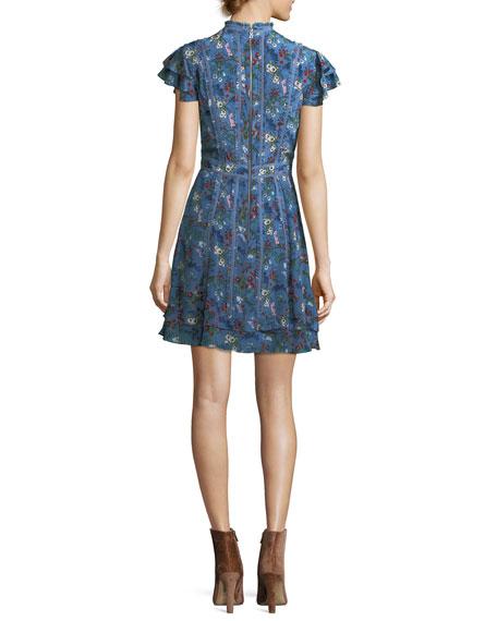 Marta High-Neck Floral-Printed Mini Dress