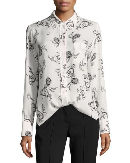 A.L.C. Scott Button-Front Long-Sleeve Silk Blouse