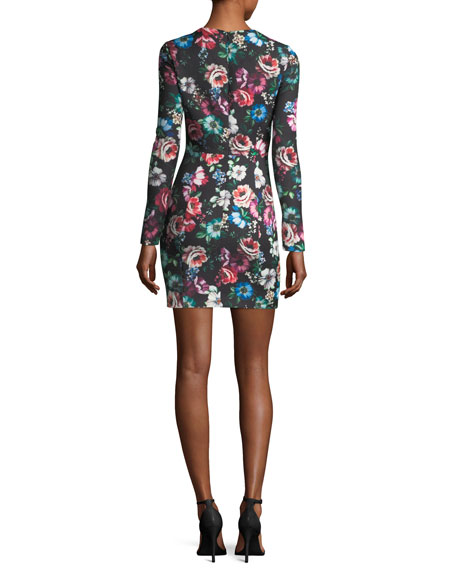 Lively Long-Sleeve Floral-Printed Cocktail Dress