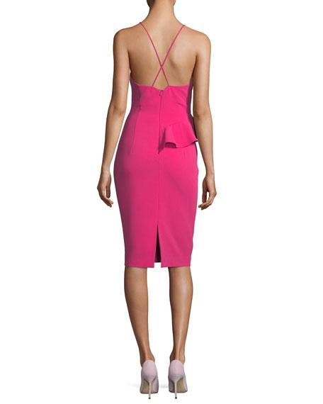 Leni Deep-V Sleeveless Sheath Cocktail Dress