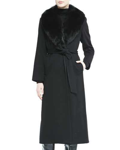 Fur-Collar Belted Long Wrap Coat