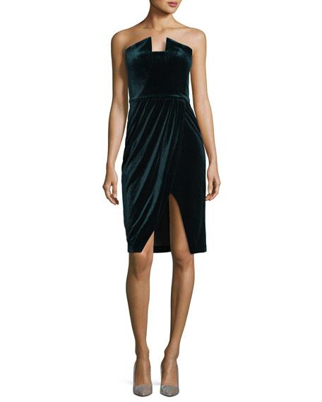 Black Halo Jolie Strapless Velvet Cocktail Dress