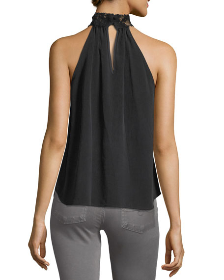 Lydia Mock-Neck Sleeveless Top w/ Lace