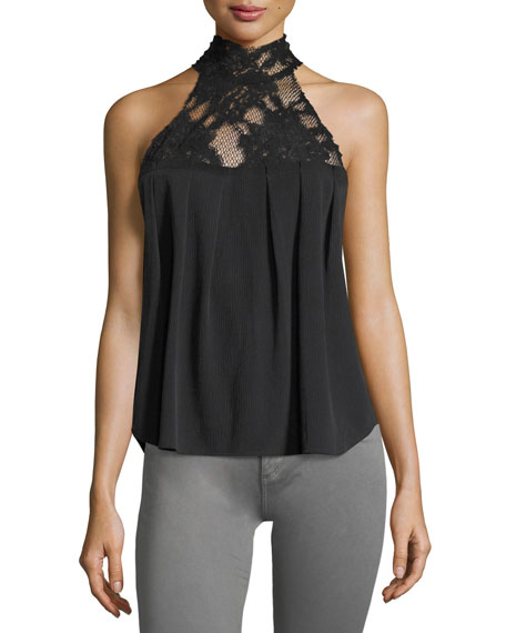 AG Lydia Mock-Neck Sleeveless Top w/ Lace