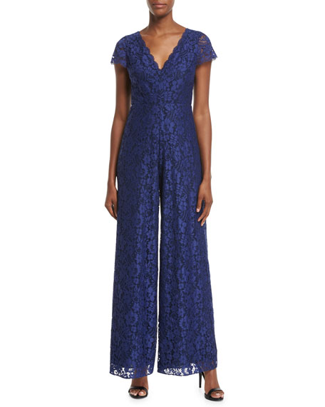 Alice + Olivia Mariam V-Neck Wide-Leg Lace Jumpsuit