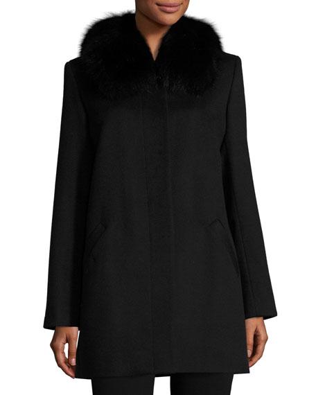 Sofia Cashmere Furs FOX-TRIM FELT COAT