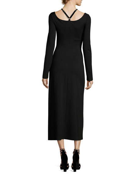 Jessa Long-Sleeve Cutout Ponte Midi Dress