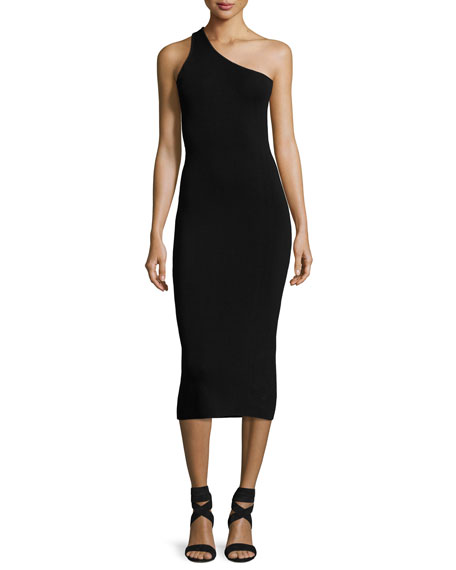 Theo One-Shoulder Fitted Midi Dress