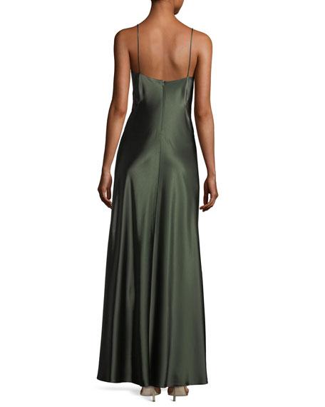 Satin Empire-Waist Slip Column Evening Gown w/ Lace