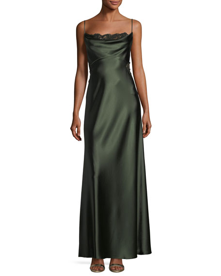 Jill Jill Stuart Satin Empire-Waist Slip Column Evening