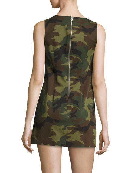 Clyde Sleeveless A-Line Camo Mini Dress