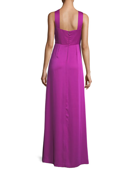 Halter Keyhole Sleeveless Satin Evening Gown