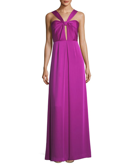 Halter Keyhole Sleeveless Satin Evening Gown