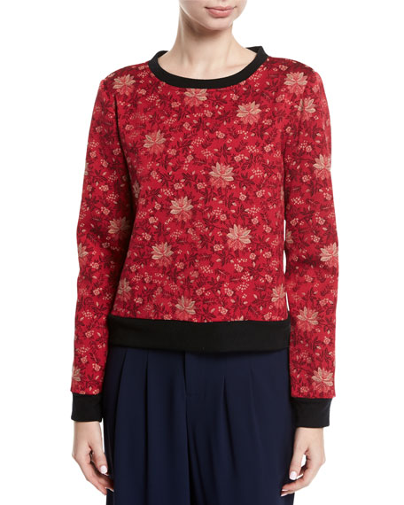 Alice + Olivia Mary-Lou Floral-Print Pullover Sweatshirt