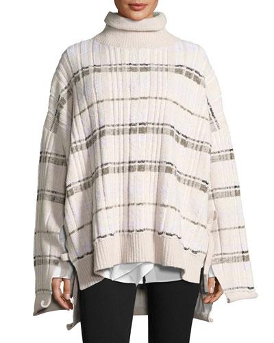 Abstract Float-Plaid Drape Back Knit Poncho