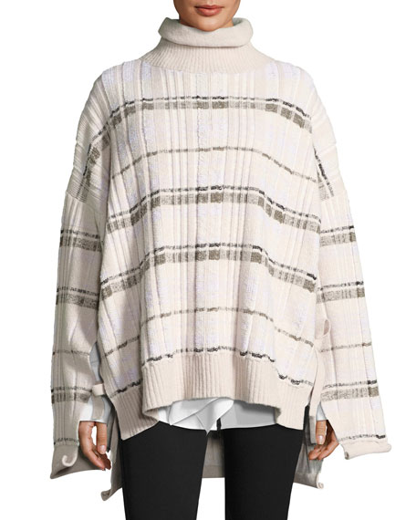 3.1 Phillip Lim Abstract Float-Plaid Drape Back Knit