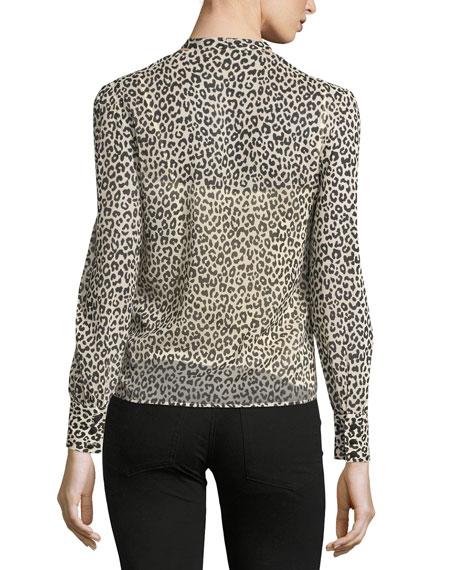 Long-Sleeve Tie-Neck Leopard-Print Blouse
