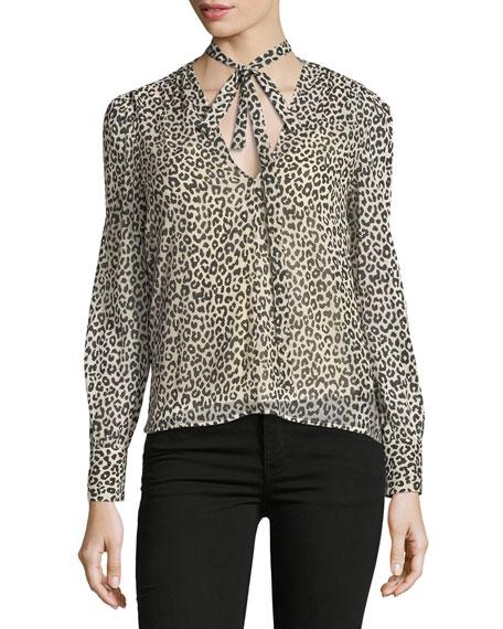 REDValentino Long-Sleeve Tie-Neck Leopard-Print Blouse