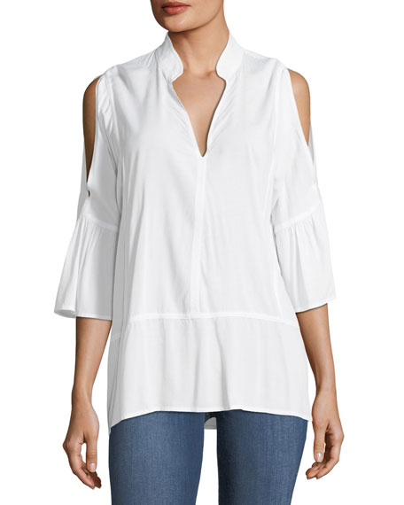 XCVI Nerine Cold-Shoulder Stretch Top, White