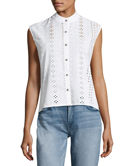 Michi Embroidered Eyelet Button Top