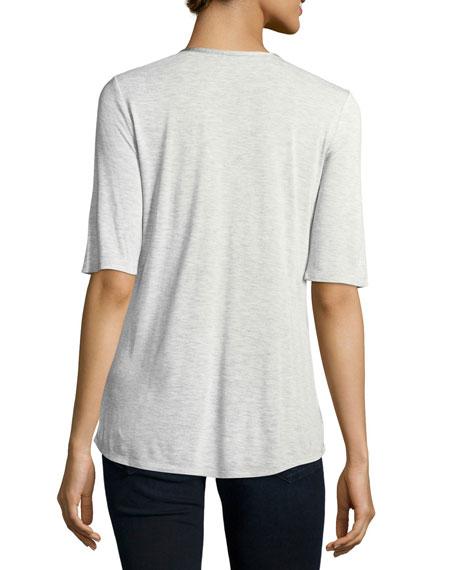 Satin-Trim Half-Sleeve Top