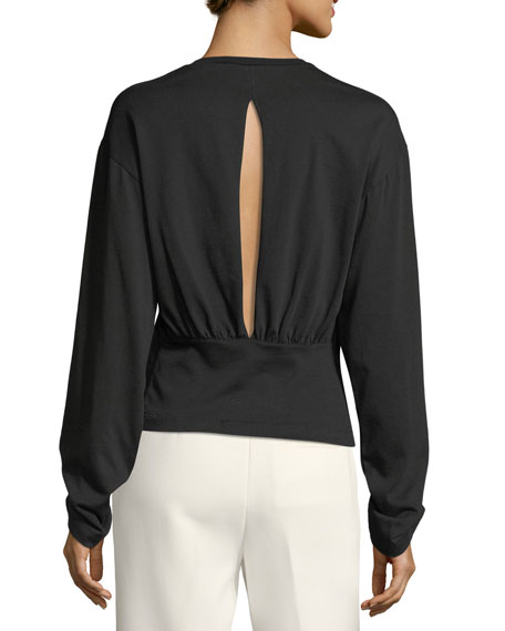 Long-Sleeve Split-Back Cotton Top w/ Piercing