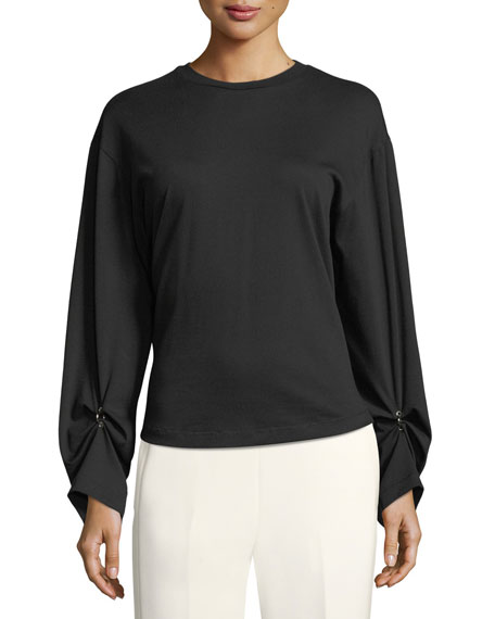 3.1 Phillip Lim Long-Sleeve Split-Back Cotton Top w/