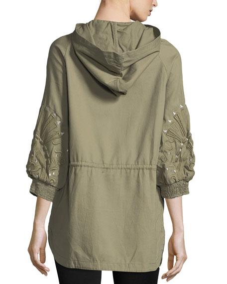 3/4-Sleeve Embroidered Cargo Jacket