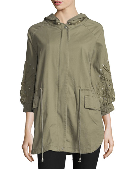3/4-Sleeve Embroidered Cargo Jacket