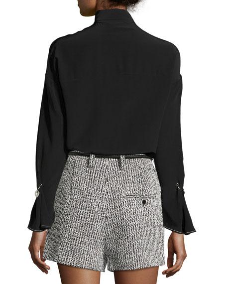 Long-Sleeve Necktie Silk Blouse w/ Piercing Details