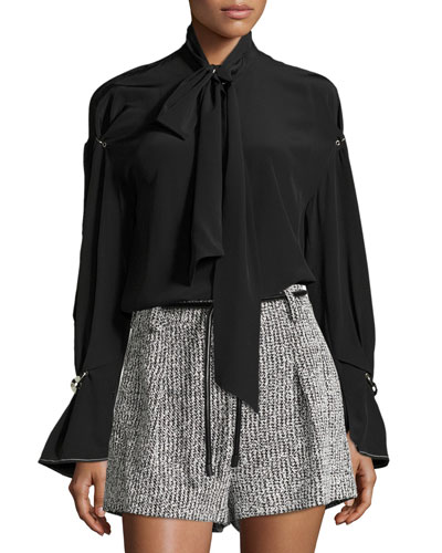 Long-Sleeve Necktie Silk Blouse w/ Piercing Details
