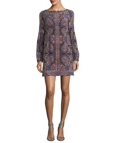 Kaleidoscope-Print Bateau-Neck Long-Sleeve Cocktail Dress