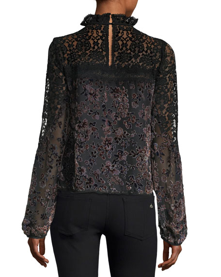Obsession High-Neck Long-Sleeve Lace Top